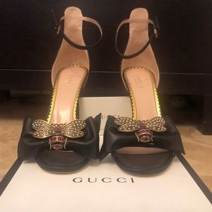 Gucci Embellished Leather Ankle-Strap Sandals